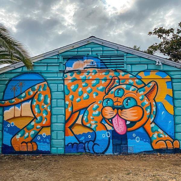 Carlsbad Art Wall's Funny Feline Delights All