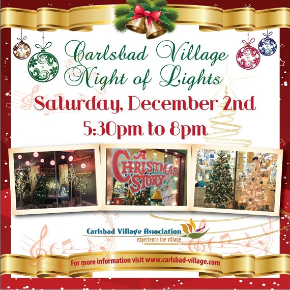 Holiday Music and Festive Windows in Carlsbad Village