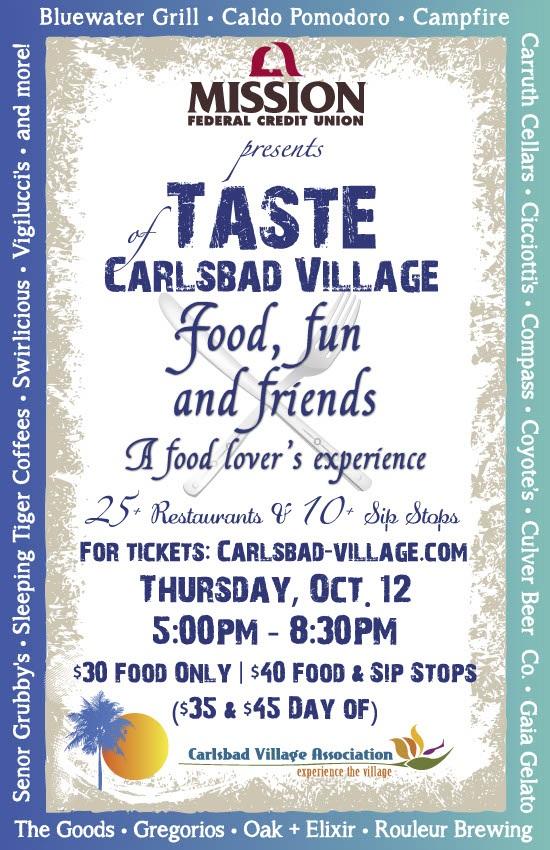 Taste of Carlsbad Village Restaurant List Grows!