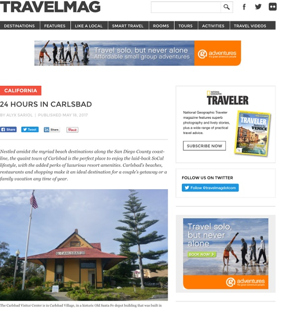Carlsbad Village Celebrated in Online Travel Publications