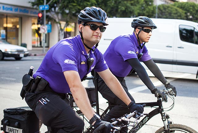 Men in purple shirts on bikes
