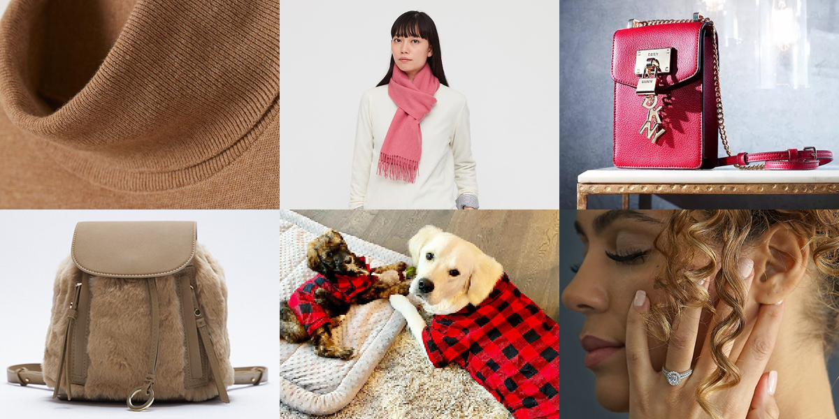 Fine-knit turtleneck sweater from H&M; Luxurious cashmere scarf from Uniqlo; Stylish red and gold crossbody phone wallet from Macy's; Faux-fur backpack from Zara; PJs for the dog from Target; Head-turning engagement ring from St. Vincent Jewelry Center