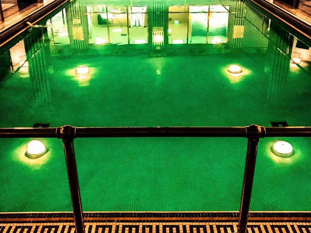 Pool with green bottom