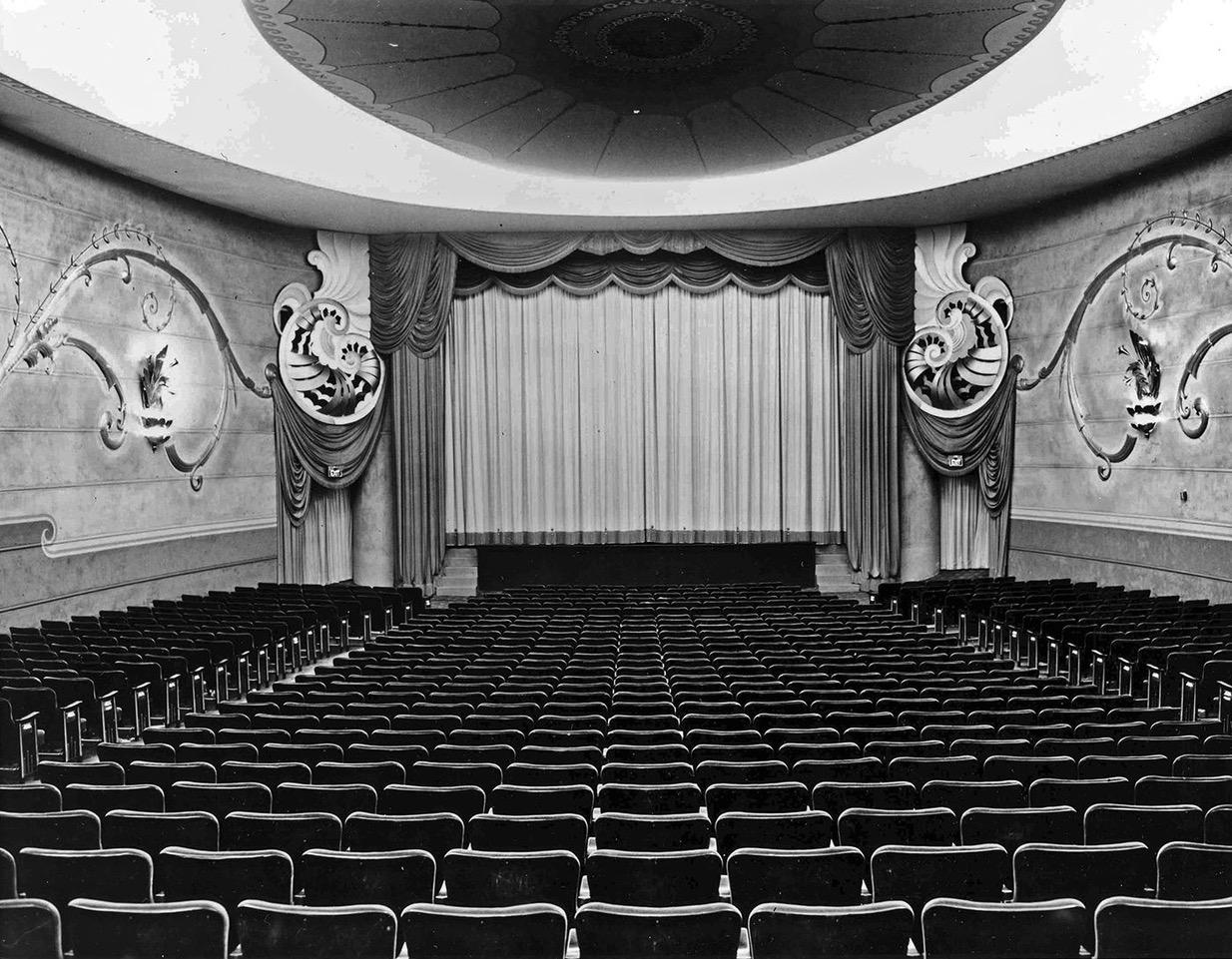Historic interior photo of The Vogue Theatre.
