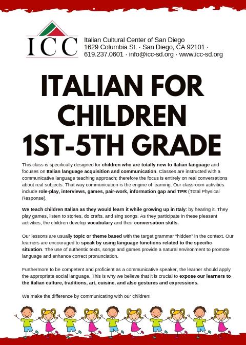 Italian Language Classes for Children | Little Italy San Diego, CA
