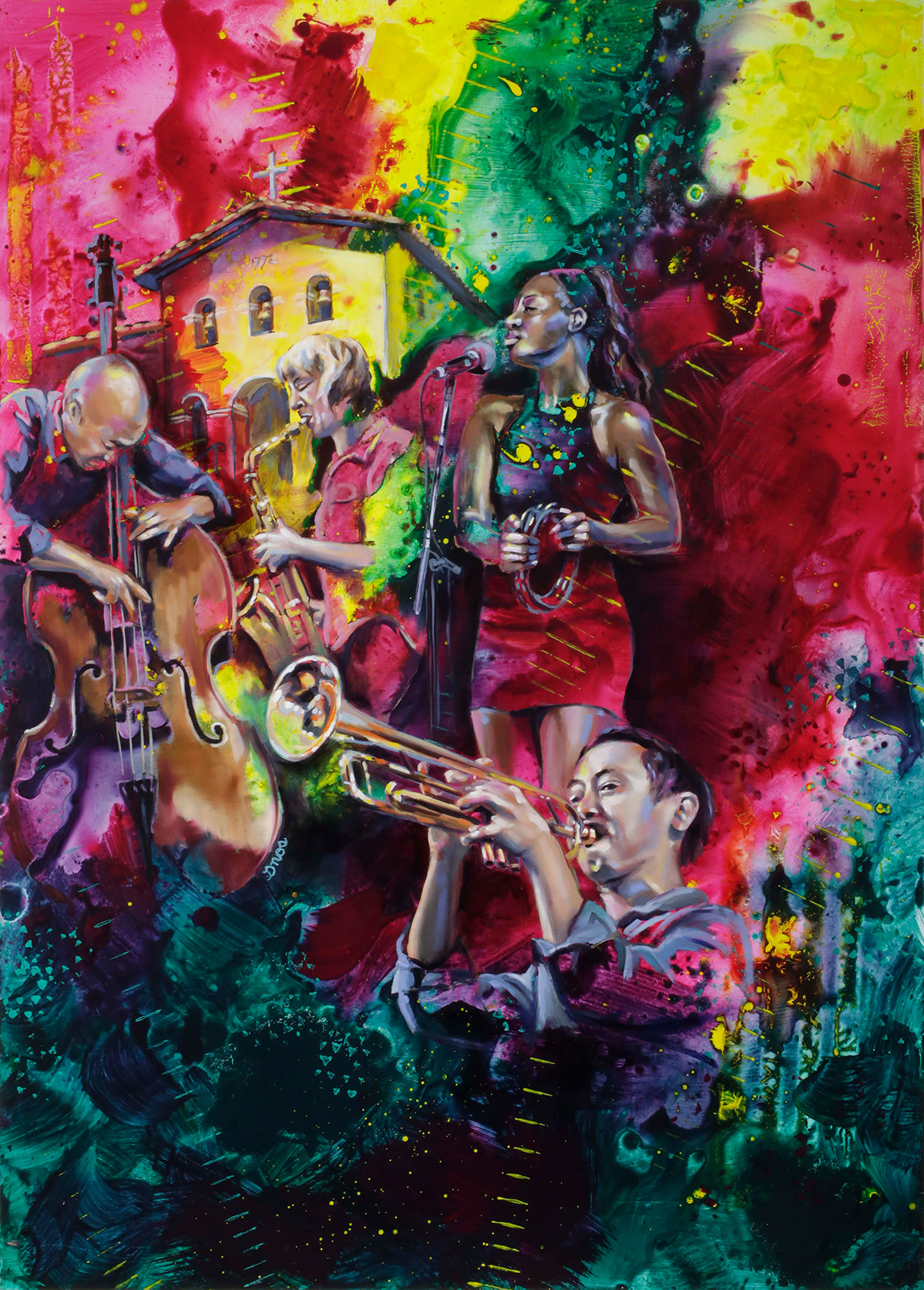 Painting by Colleen Gnos, featuring musicians playing jazz instruments in front of Mission San Luis Obispo.
