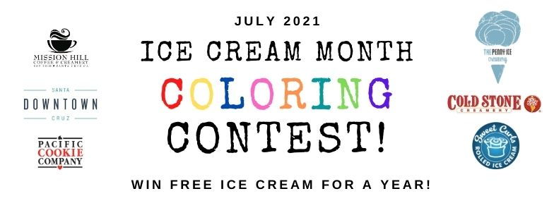 ice cream month flyer with participating store logos