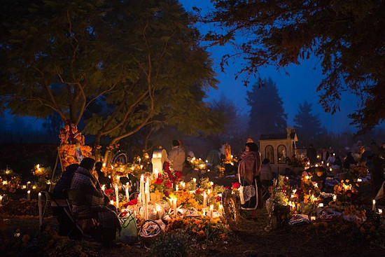 Evening scene of Day of the Dead festivities in Cucuchucho, Mexico