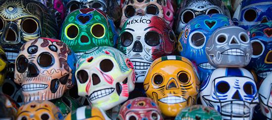 Colorful wooden skulls for sale