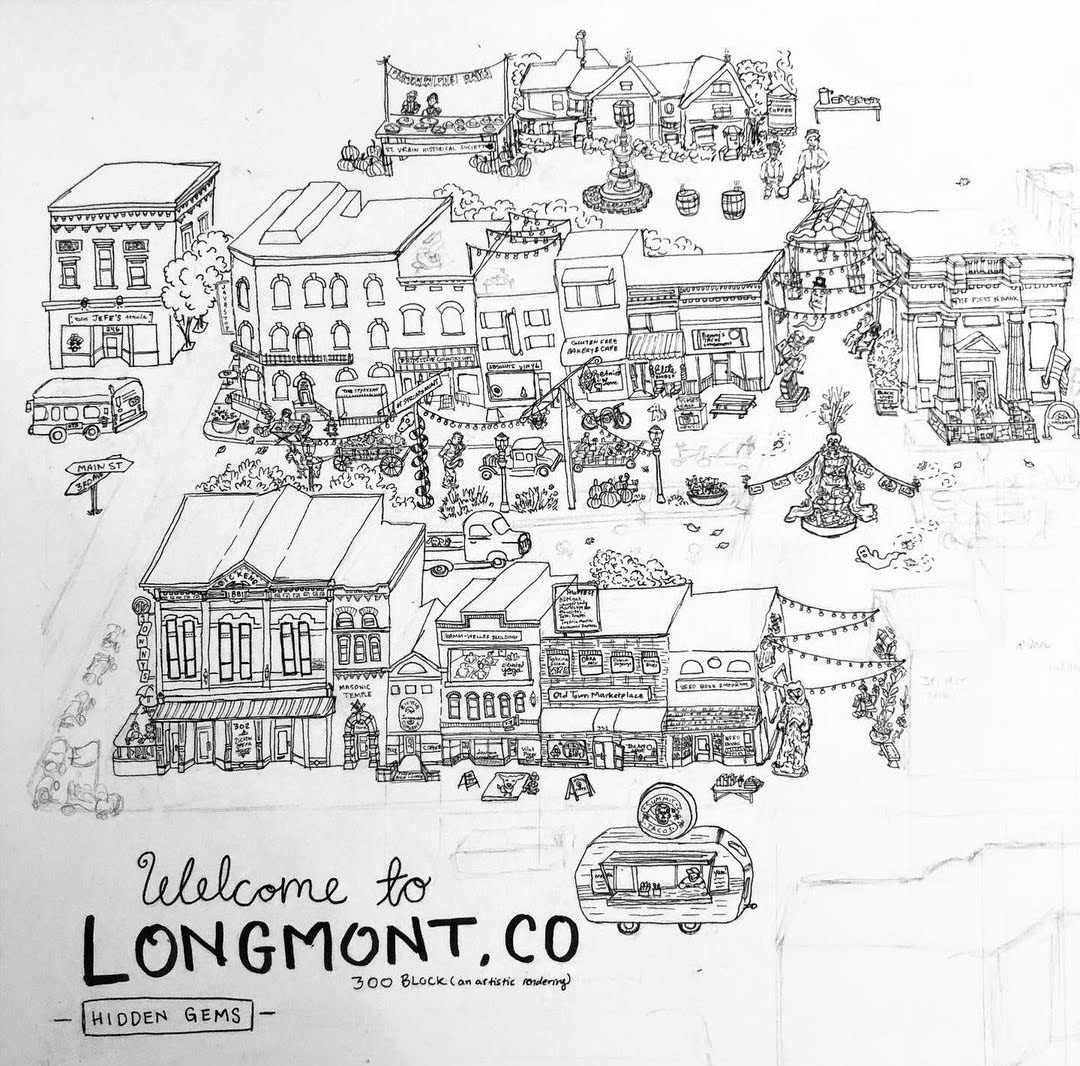 An Artistic illustrated map of Downtown Longmont by local artist Coy.Ink