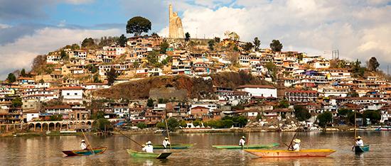 The island Janitzio, viewed from Lake Pátzcuaro