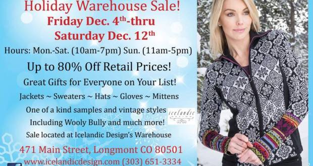 Icelandic Designs Annual Warehouse Sale Downtown Longmont Events