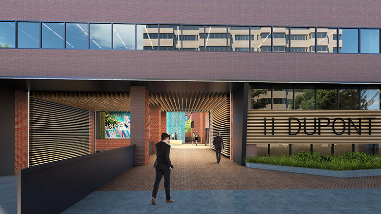 A rendering of the breezeway view from New Hampshire Avenue, NW