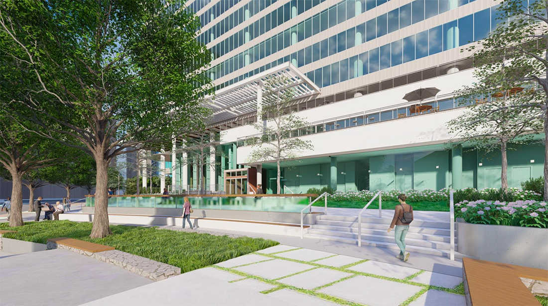 An rendering of proposed renovations to the exterior of 1200 Peachtree.
