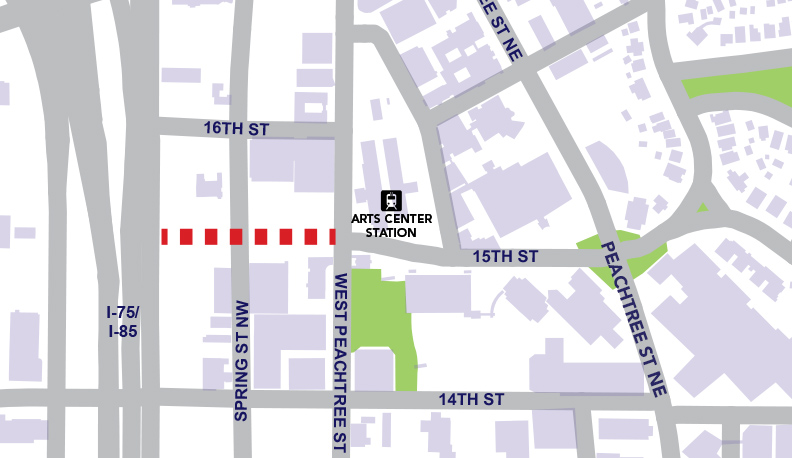 A map of where the 15th Street Extension will be built.
