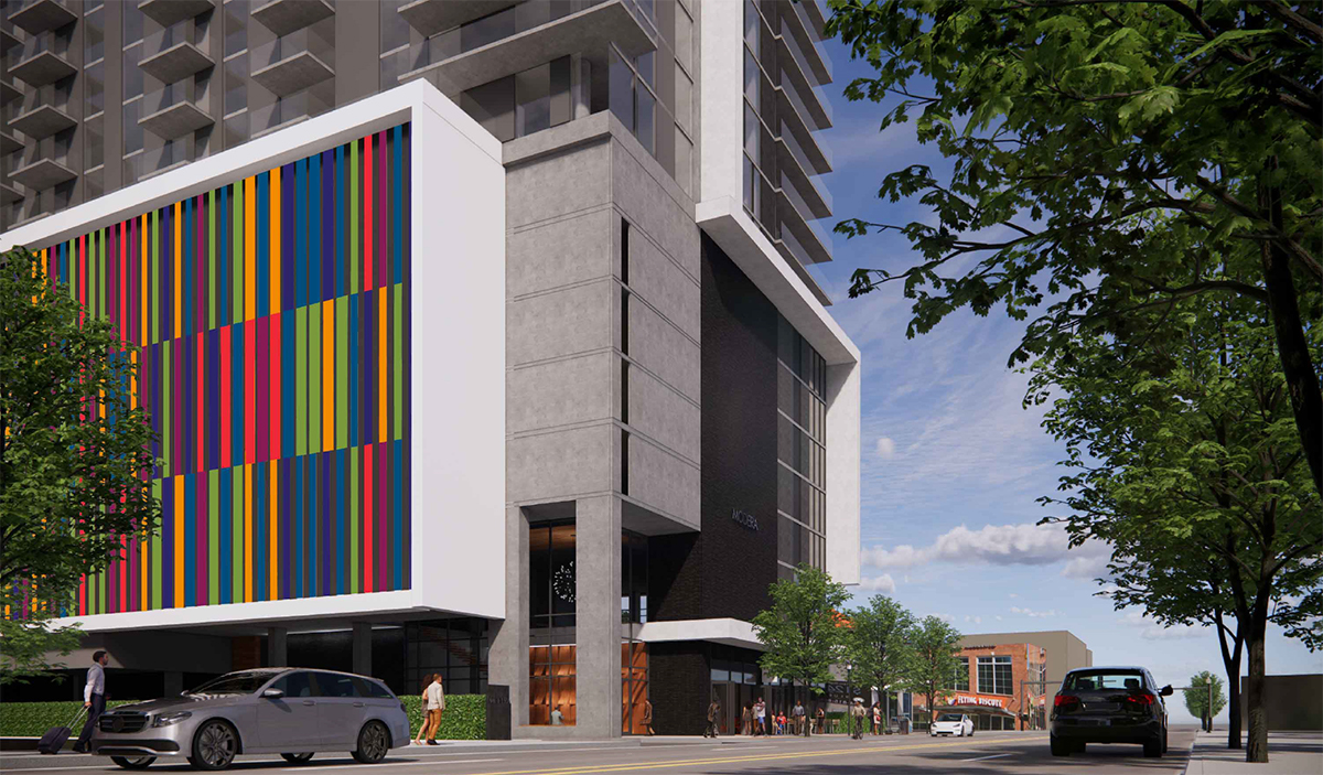 The proposed colorful garage screening concept matches both Modera's color palette and Midtown's rainbow crosswalks.