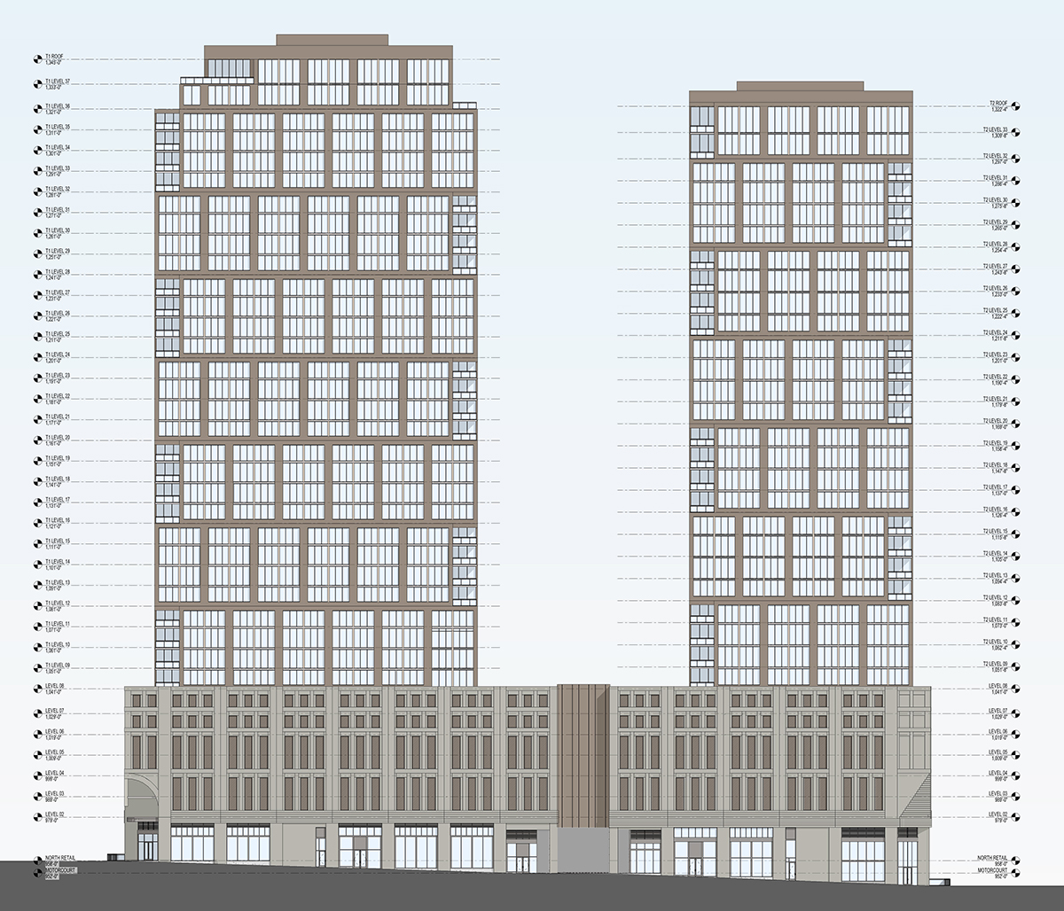 A sketch of the proposed 1081 Juniper Street project showing elevation of the towers along the east side of the street.