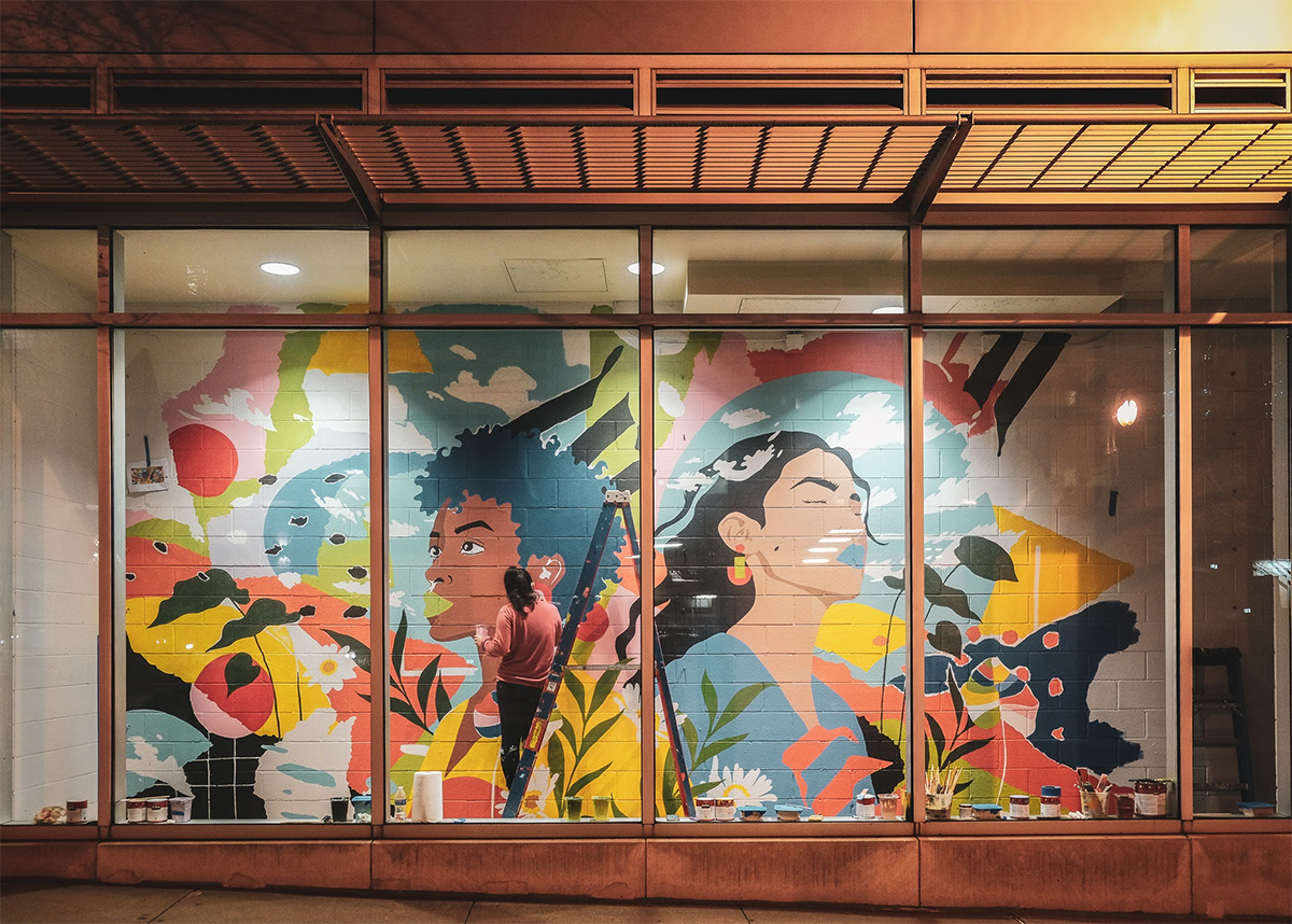 Phingbodhipakkiya's colorful mural is on view across 10th Street from the Midtown MARTA Station.