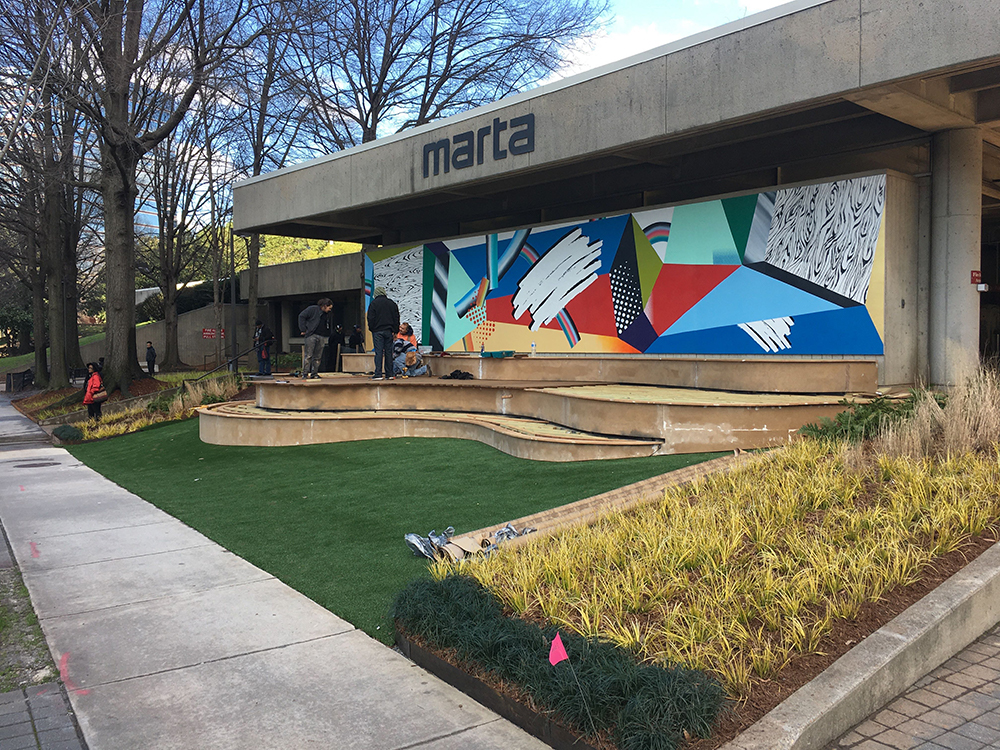 There's a bright new addition to the Arts Center MARTA Station in Midtown — a new mural on the station's facade on West Peachtree Street.