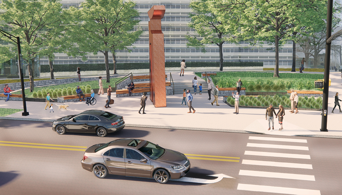 A rendering showing where Sabine Woman will be located on the Southwest corner of 15th and Peachtree.