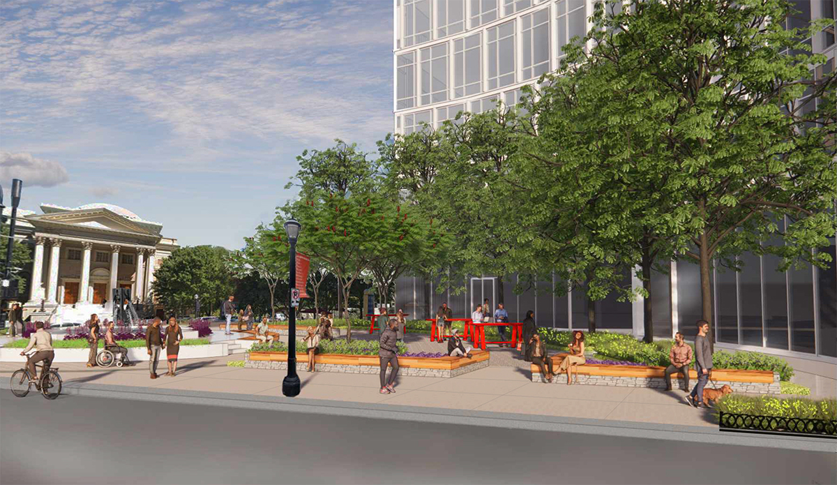 A rendering of the southeast corner of Arts District Plaza.