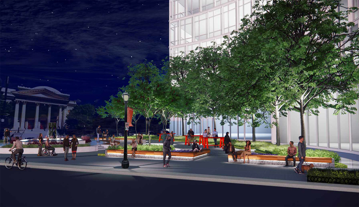A rendering of the southeast corner of Arts District Plaza, outside Colony Square's 500 Building.