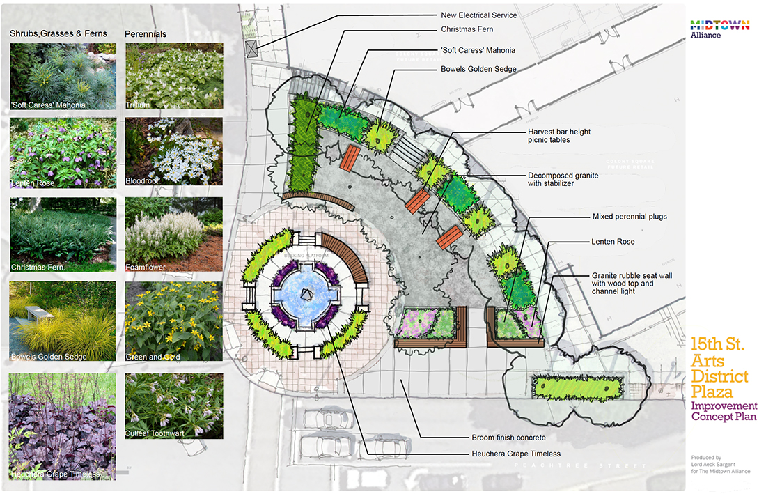 A site plan for the Arts District Plaza improvements.