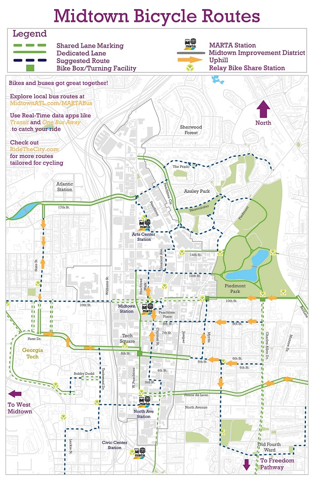 Midtown Bicycle Routes