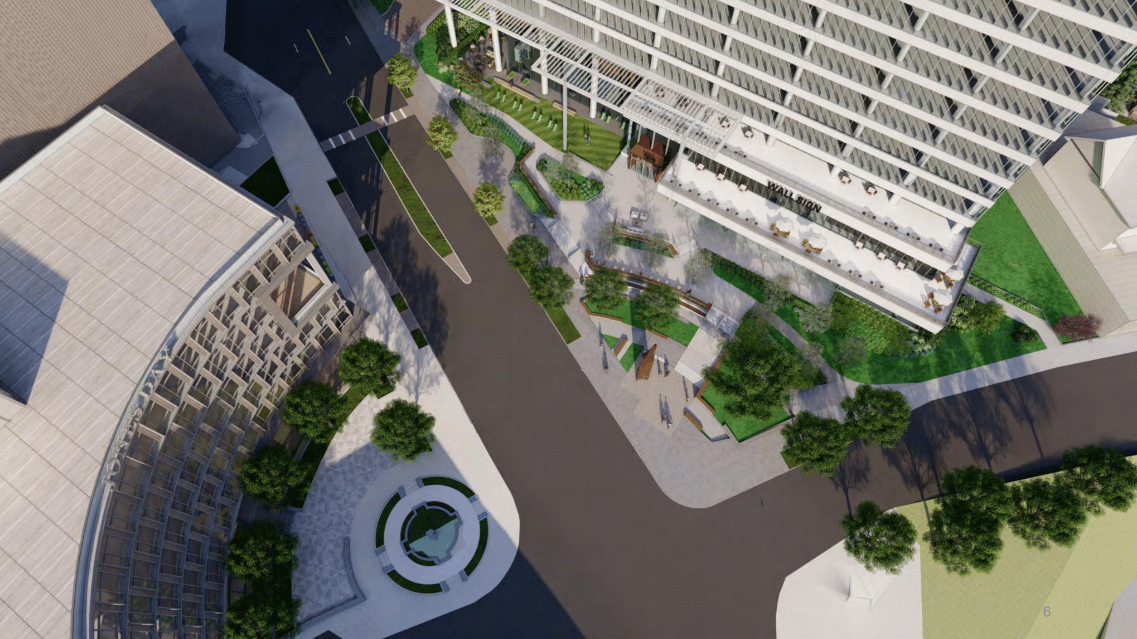 A bird's eye view of renovations at 1200 Peachtree.