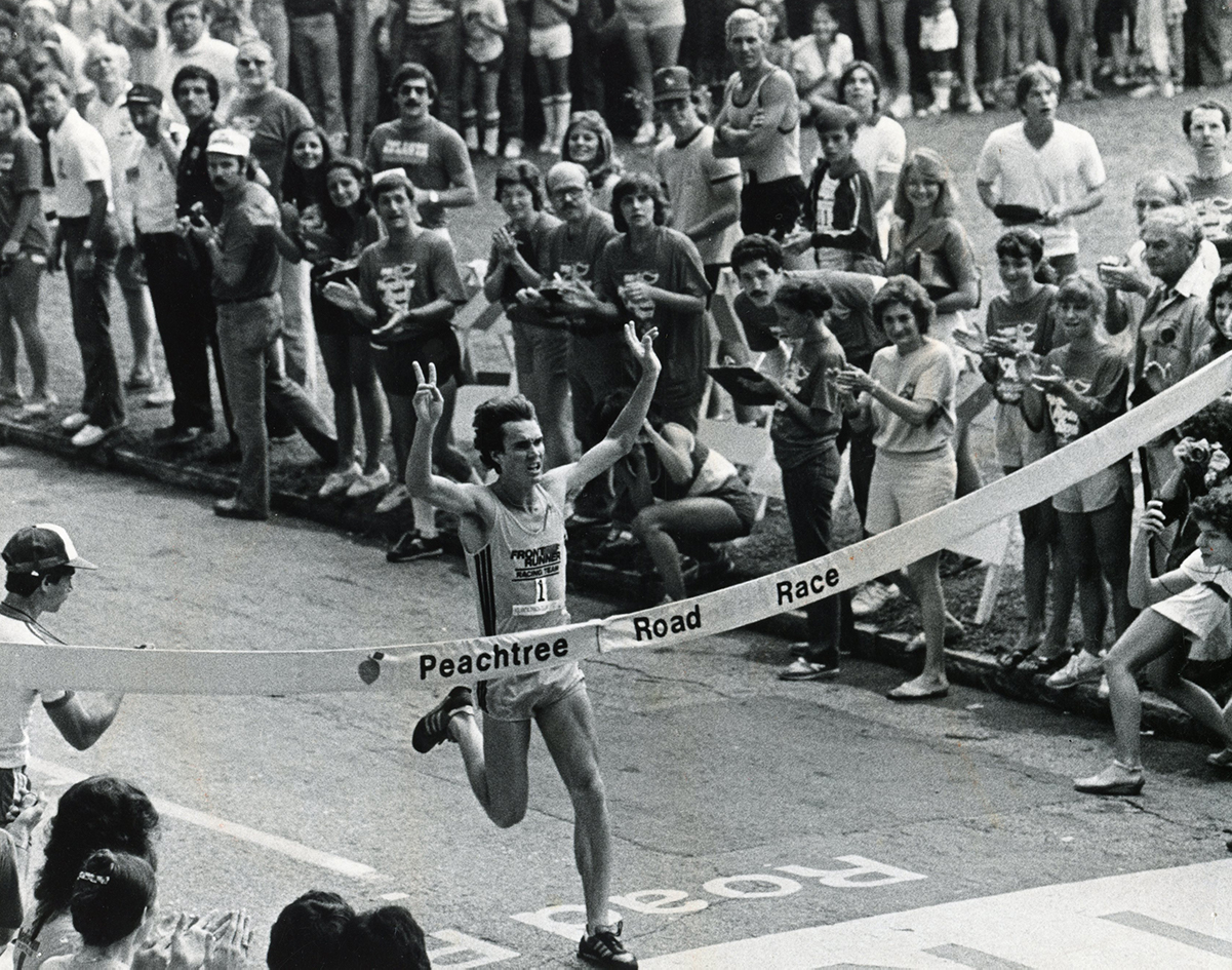 Craig Virgin wins the Peachtree Road Race in 1981.