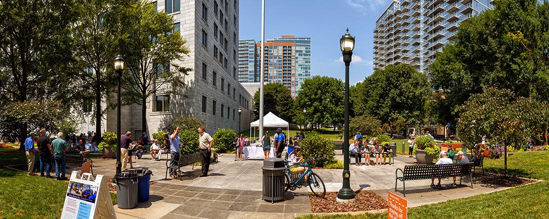 A panorama of the Jack Guynn Plaza at the Federal Reserve Bank of Atlanta.