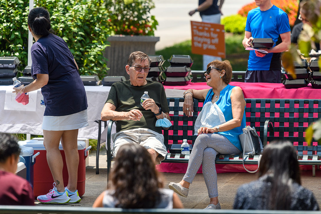 The wide open space of the Jack Guynn Plaza provided a safer place for people to gather, and masks and hand sanitizer were provided at the event.