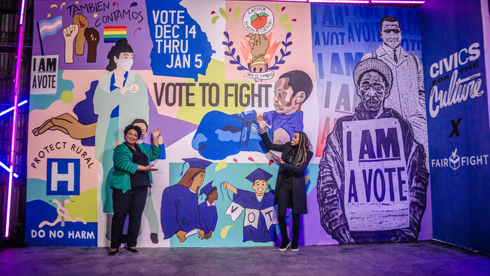 Hernandez' Fair Fight, a mural painted for Fair Fight Action, an organization founded by Stacey Abrams (above) to address voter suppression.