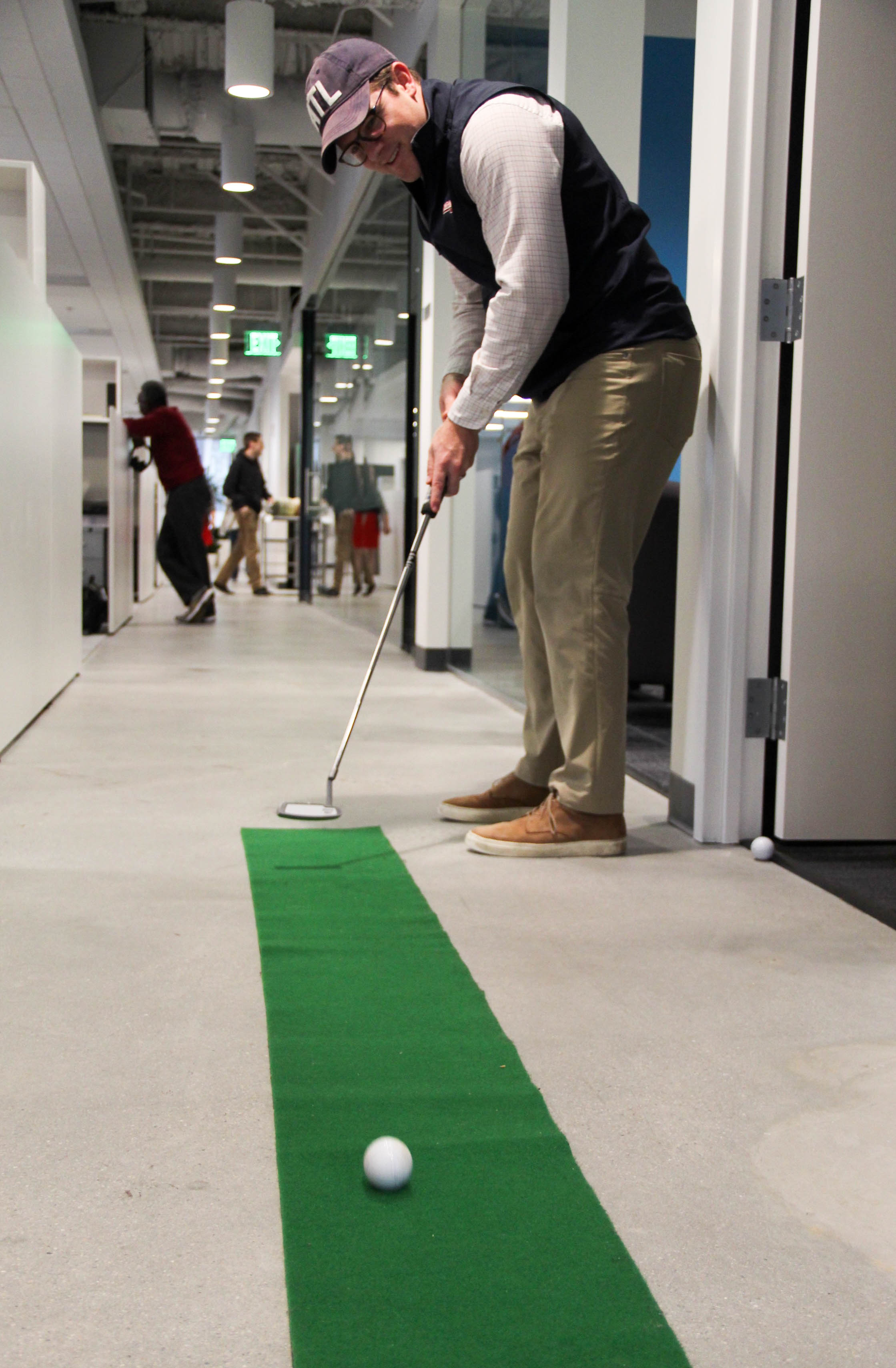 A putting green at Groundfloor's offices is a popular way for employees to spend their break time.