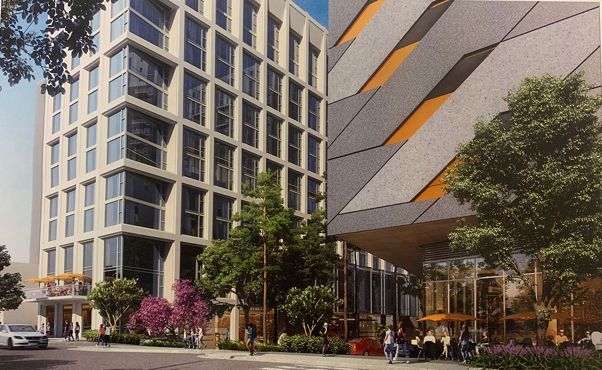 On the left, a rendering of the Midtown Union hotel.