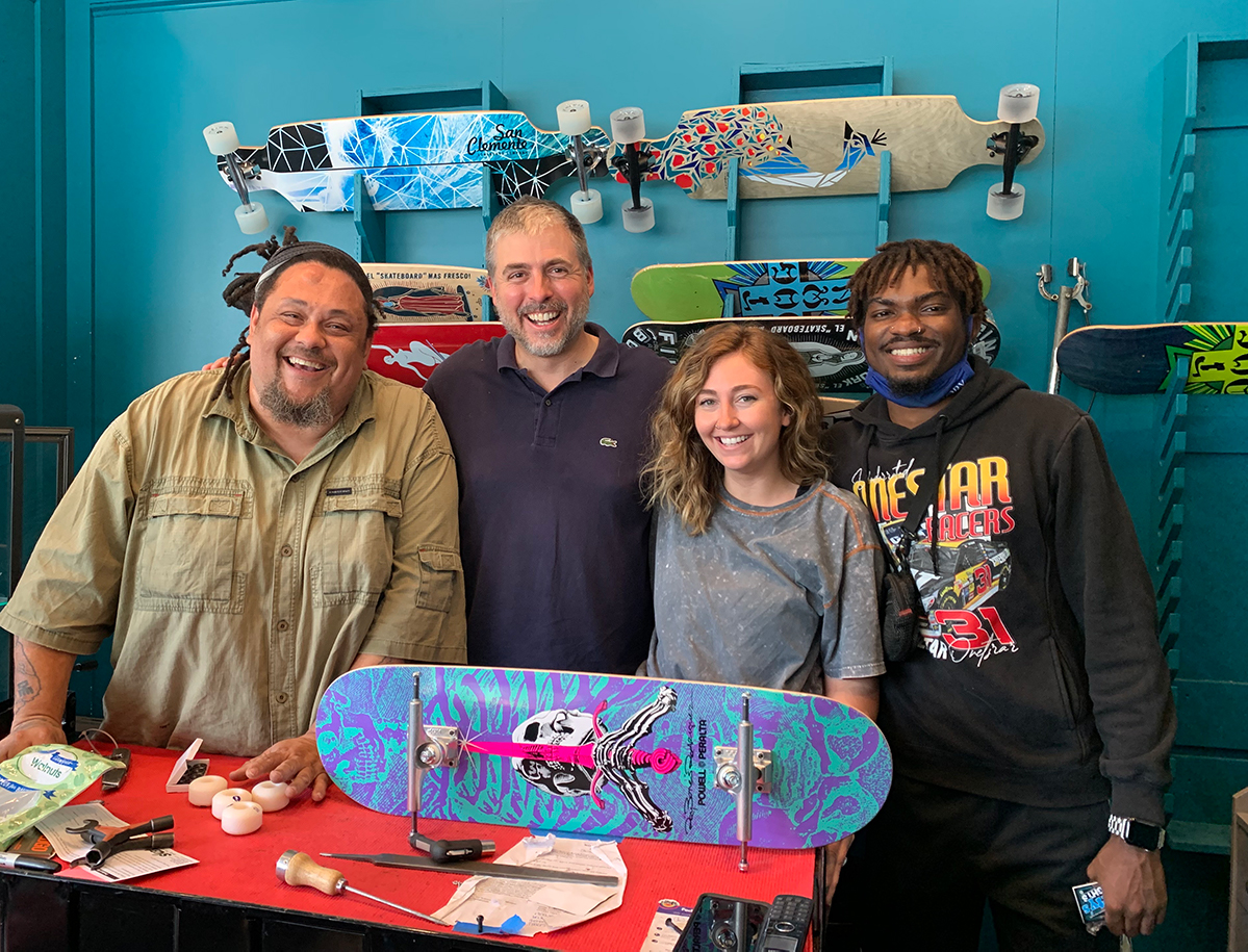 Skate Escape employees Baby B, Carson, owner Wade Thompson and Baby B.