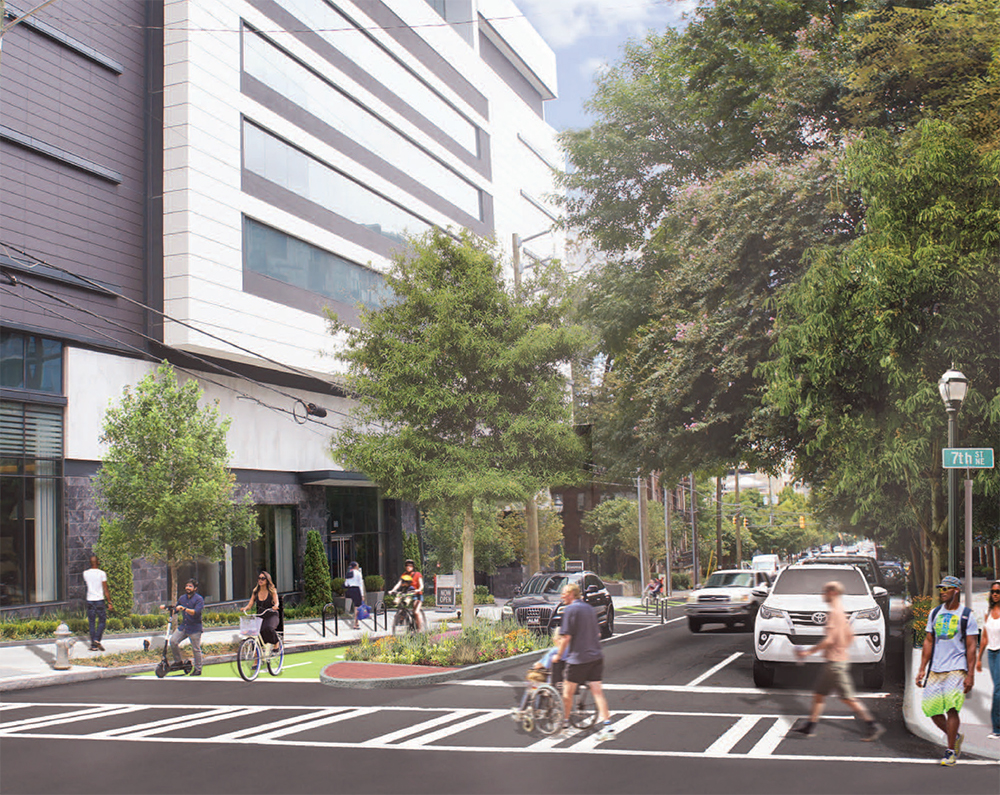 Plans for the Juniper Street Transformation Project, which include wider sidewalks.