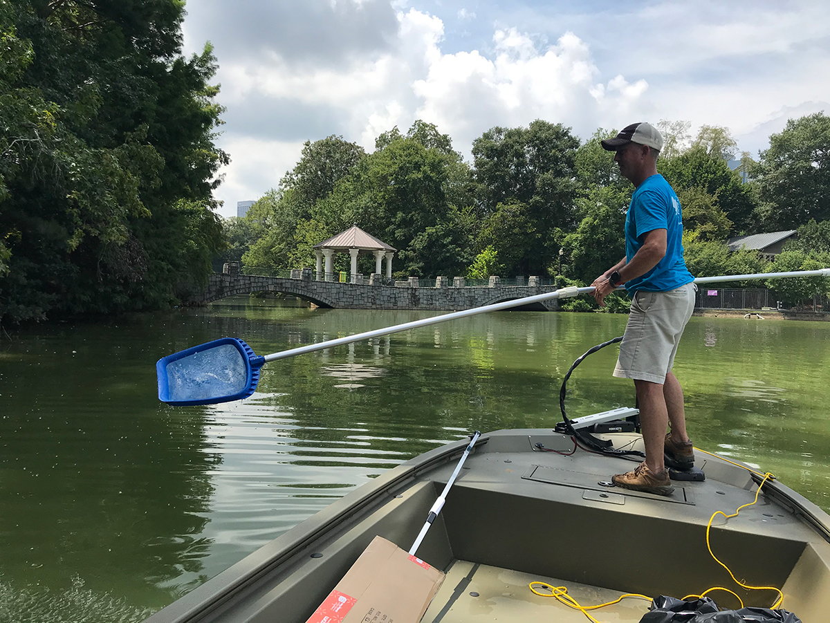 Every day on the job is different, Esslinger said. He might spend one day in meetings and the next on a boat clearing trash out of Lake Clara Meer.