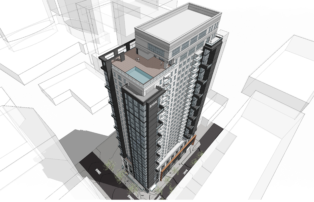 A rendering of 1100 West Peachtree, a 31-story mixed-use housing tower.