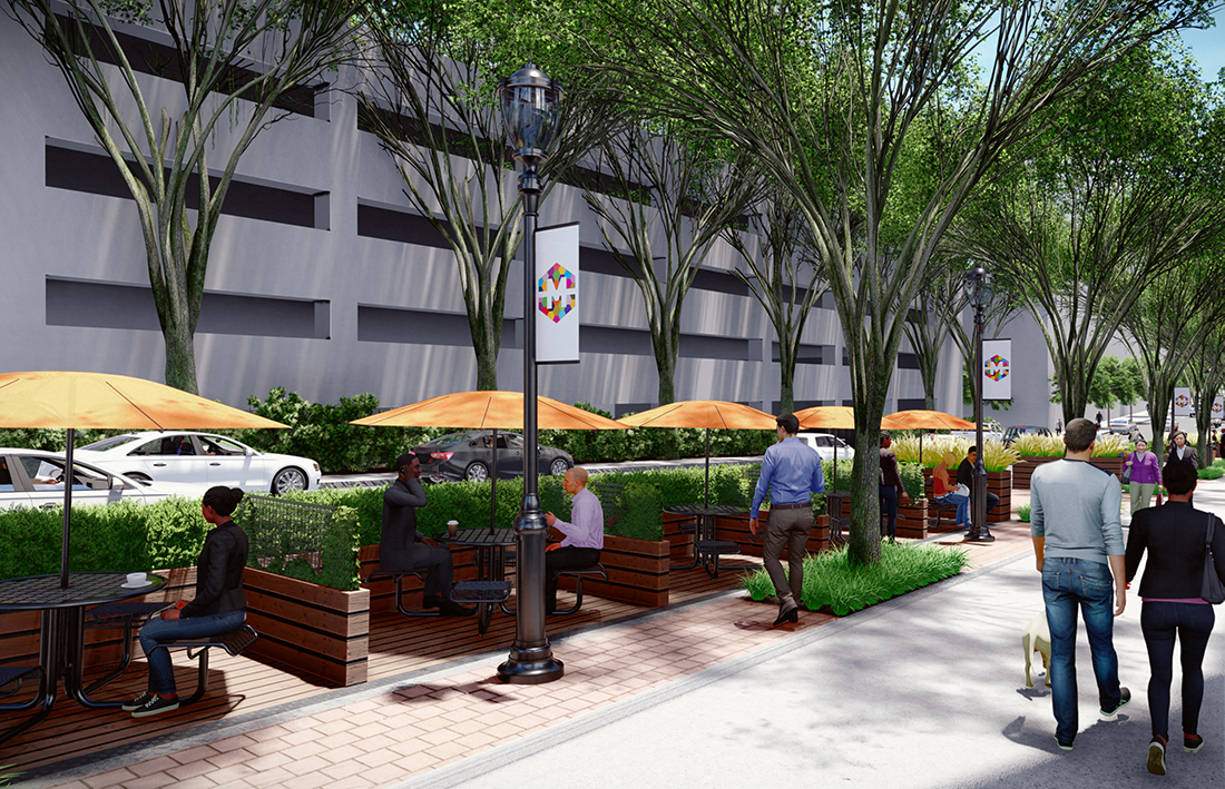 A rendering of a parklet at 4th and Spring Streets.
