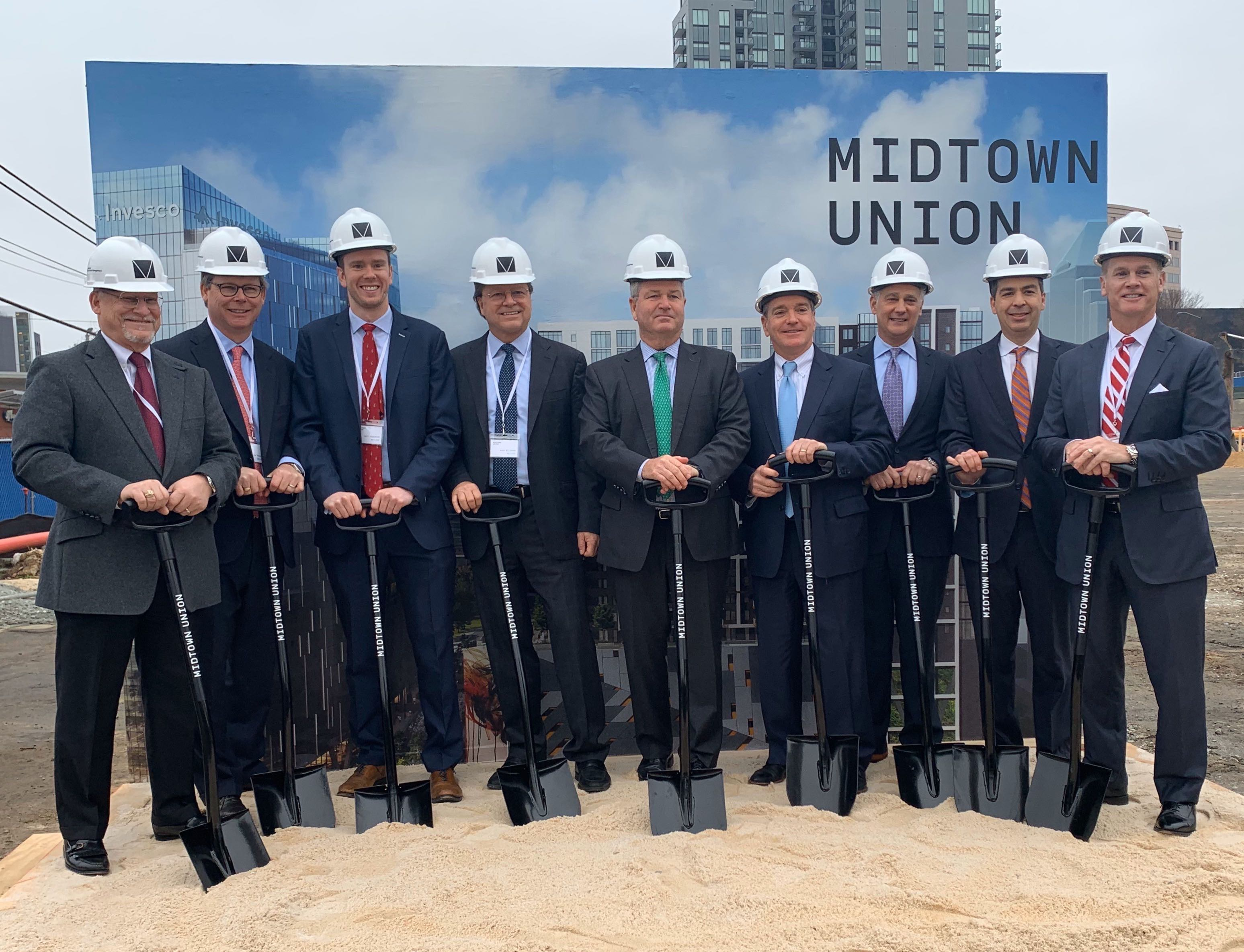 Midtown Union, a large mixed-use project at the north end of the Midtown district, broke ground December 9 during a ceremony attended by developers and other local and national business leaders.