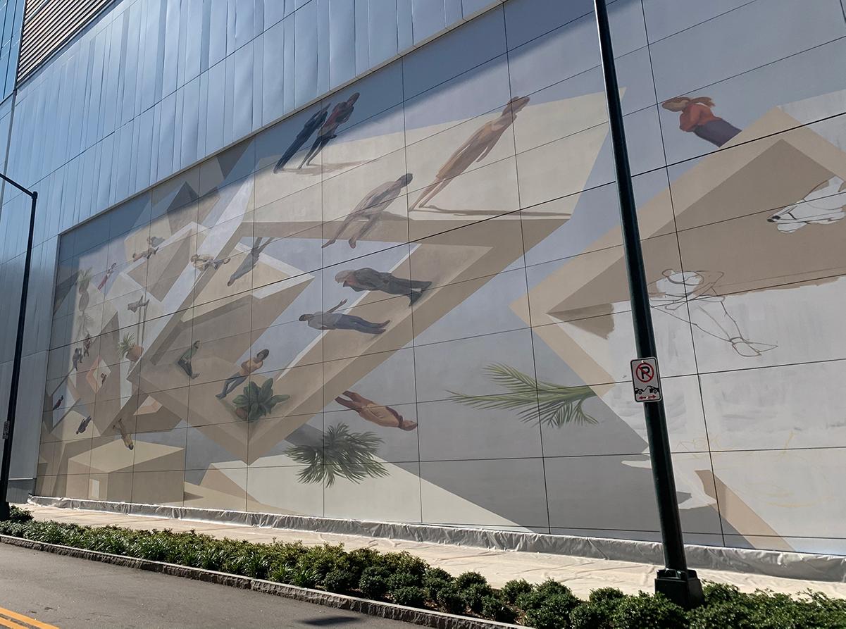 The still-in-progress mural as seen from Spring Street.