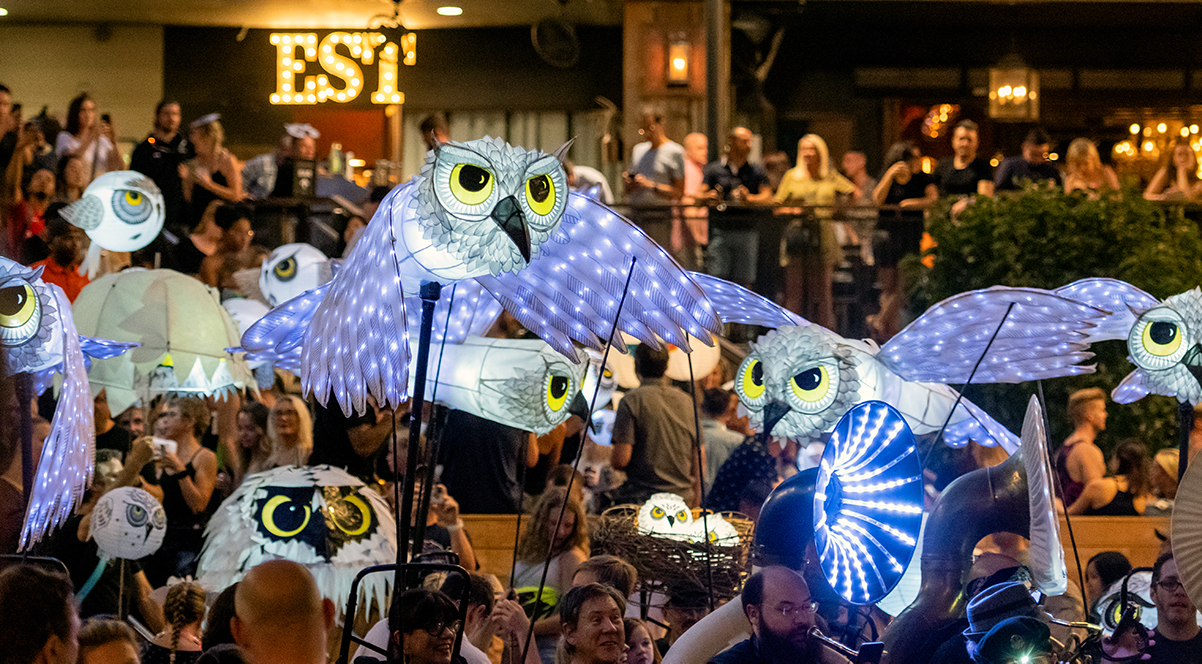 Atlanta's Midtown neighborhood on July 27 hosted its second Parliament of Owls, an owl-themed lantern parade based on community participation and founded by Atlanta BeltLine Parade Co-Creator Chantelle Rytter.