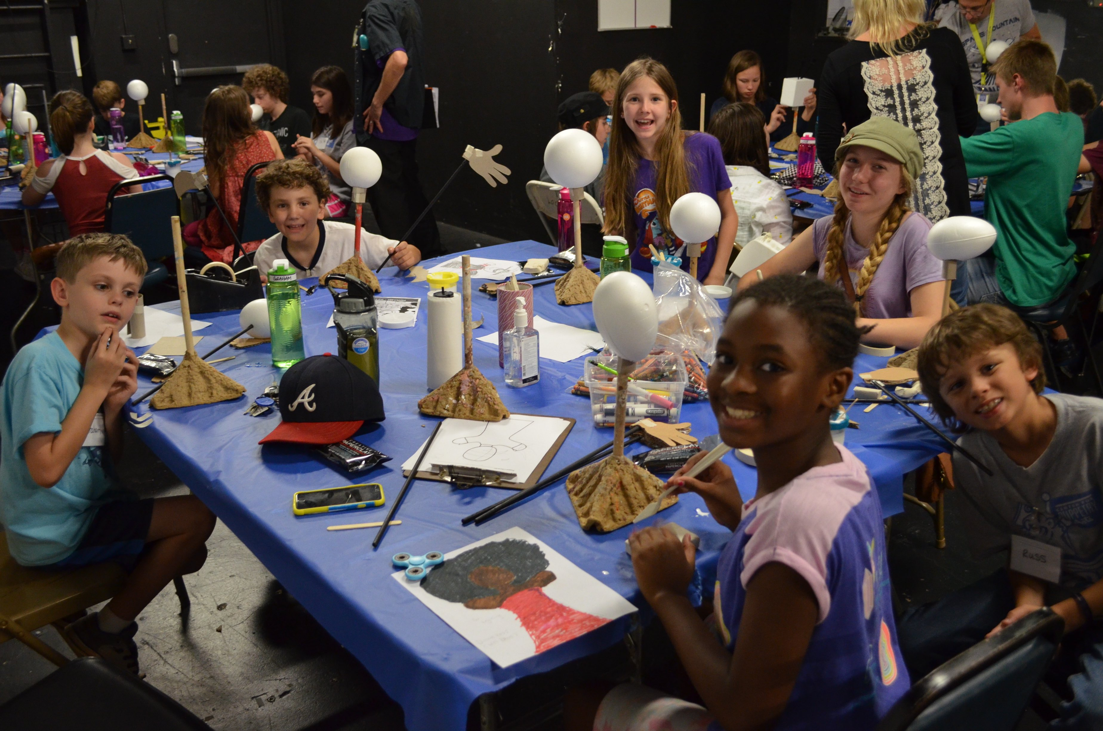 Aspiring puppeteers create puppets at the Center for Puppetry Arts.