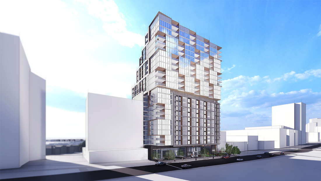A rendering of Capital City Real Estate's Rhapsody project as seen from Peachtree.