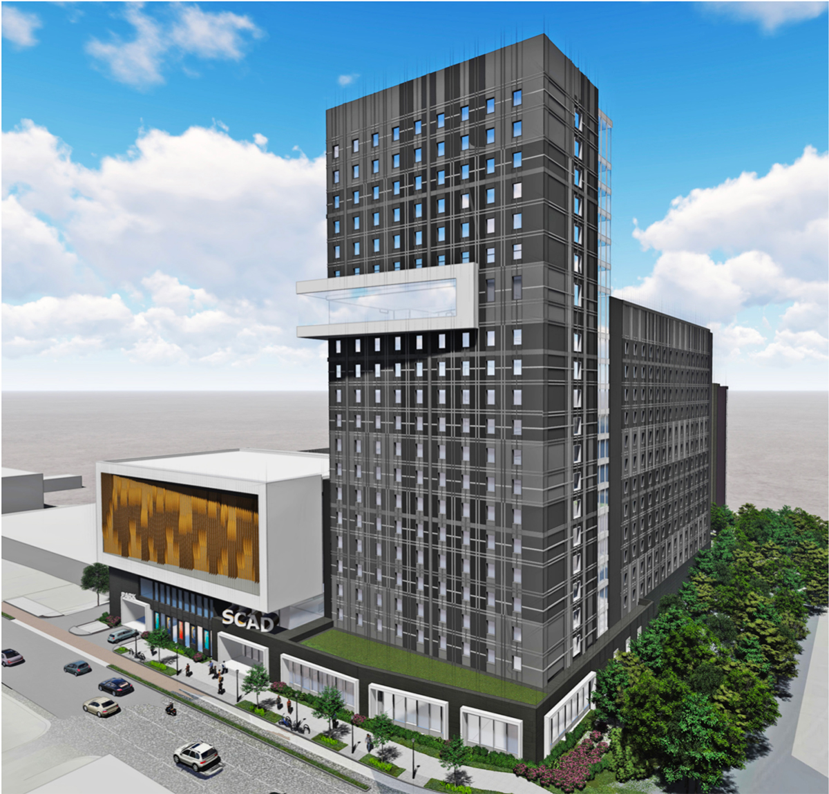 The Midtown Development Review Committee on November 12 saw designs for a 20-story mixed-use project by the Savannah College of Art and Design at 1470 Spring Street. The building would rise with the Buford-Spring connector roadway to its north.