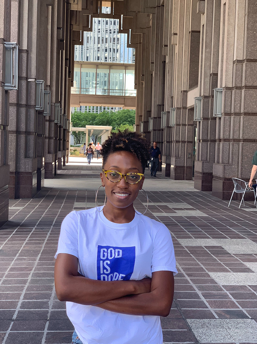 Shoccara Marcus, Midtown's newest artist in residence at the Promenade.