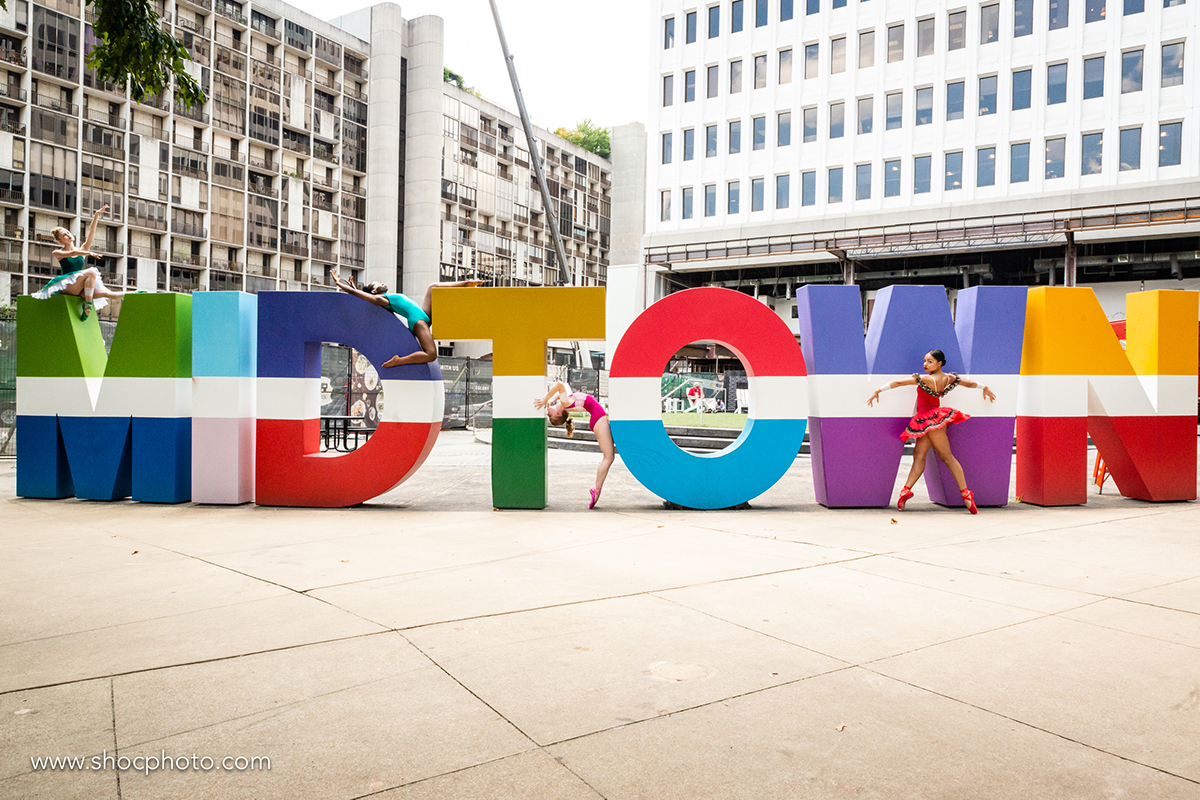 Recently Marcus had dancers pose on the Midtown letters at Colony Square, one of the district's most recognizable and Instagrammed spots.
