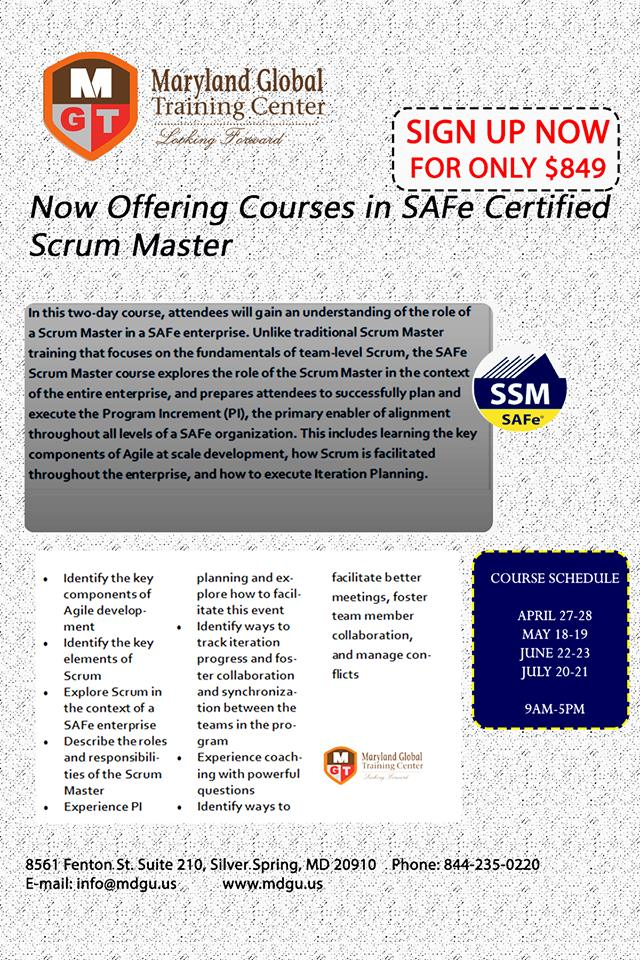 SAFe Scrum Master Course | Downtown Silver Spring, MD