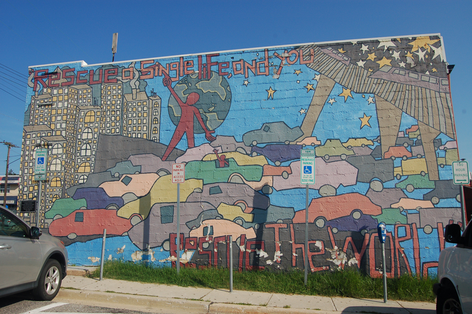 Rescue a Single Life and You Rescue the World Mural, Evergre